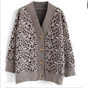 NEW Chicwish Leopard Fuzzy Oversized Cardigan